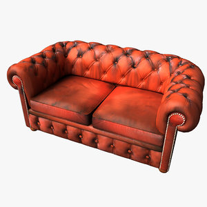 3d chesterfield leather sofa model