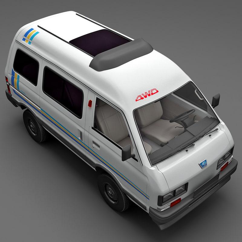 3d model realistic subaru libero 1990