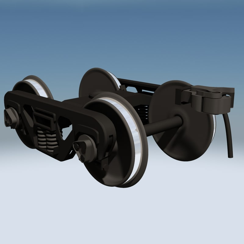 3d railroad train trucks wheels model