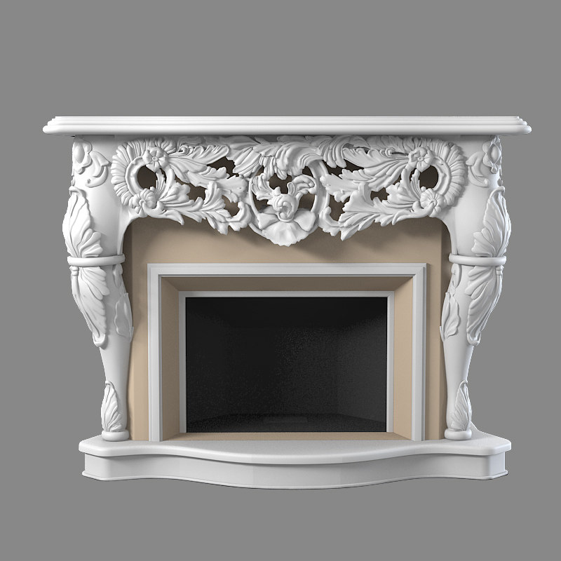 3d classic baroque fireplace