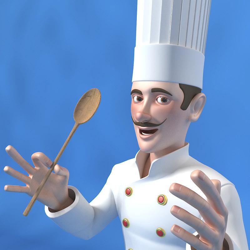 3d model of cartoon chef