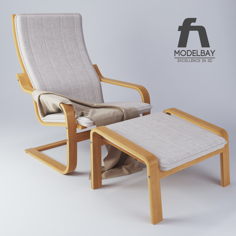 3d model ikea poang chair