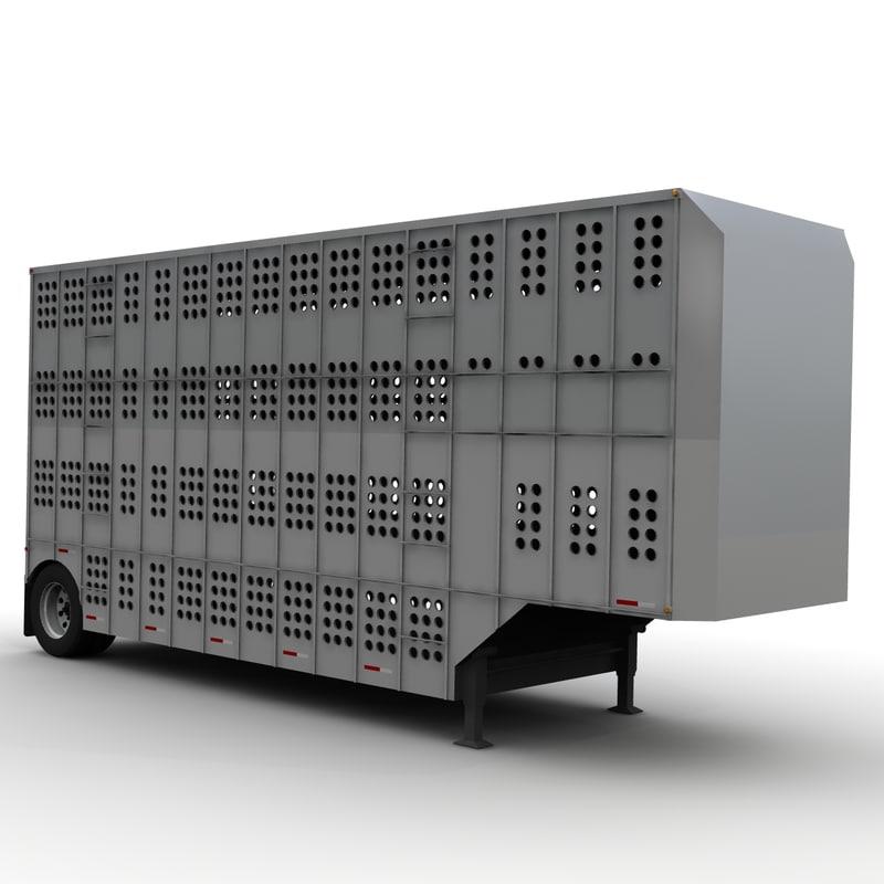 cattle trailer merritt 28ft 3d model