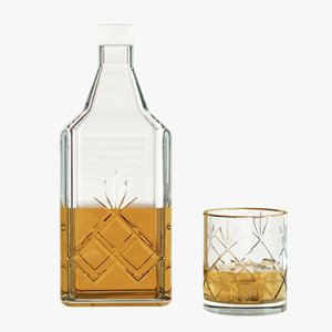 3d realistic bottle whiskey glass model