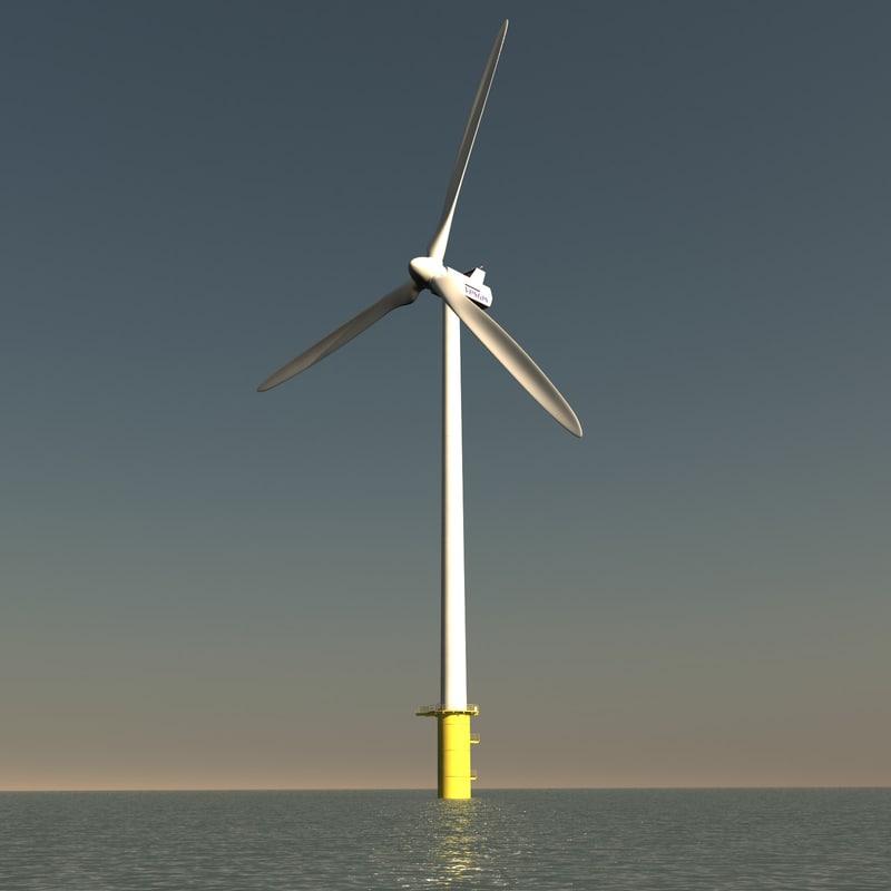 offshore 3 mw windturbine 3d max
