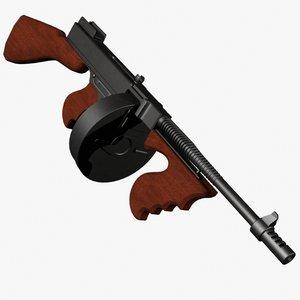 3d thompson gun rifle model
