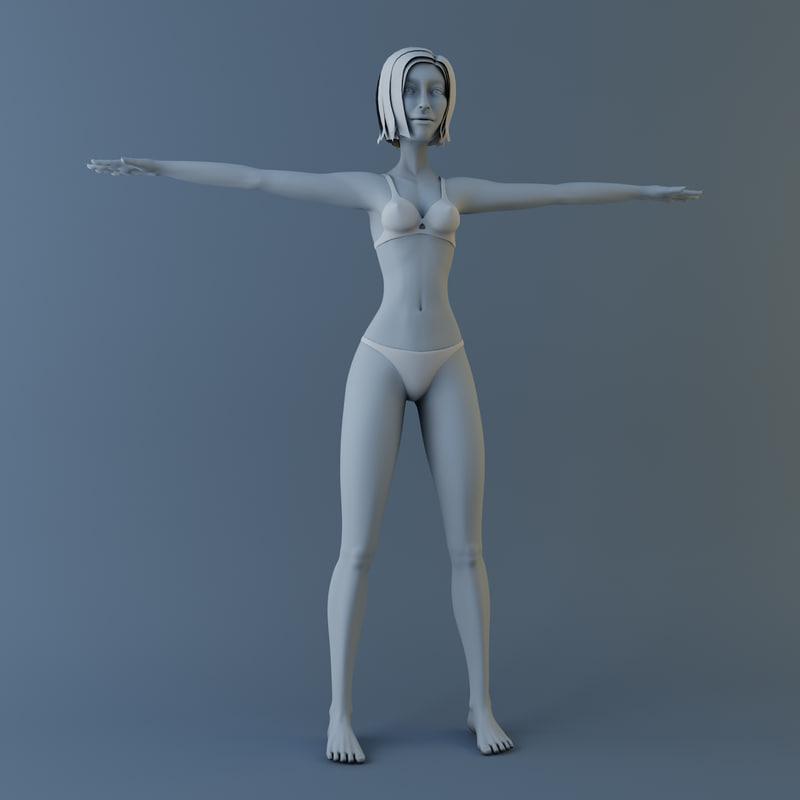 cartoon girl modelled 3d model