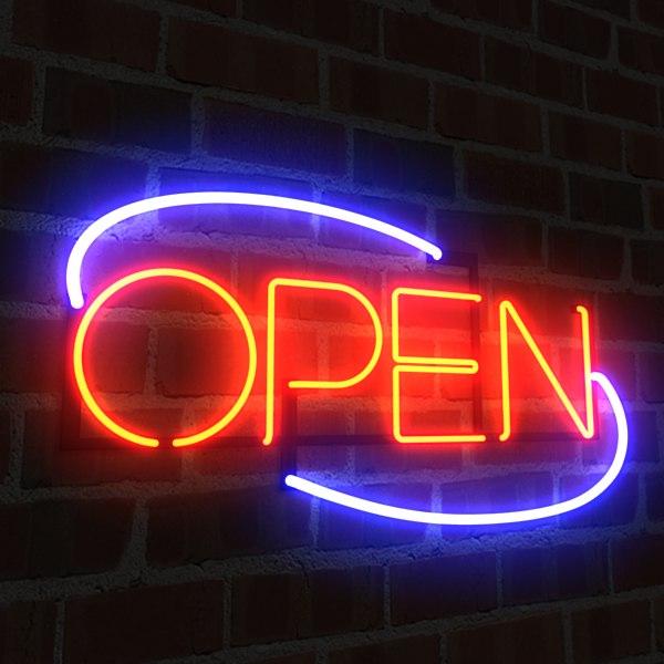 3dsmax neon open sign