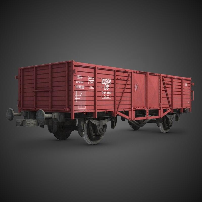 cargo train wagon 3d fbx