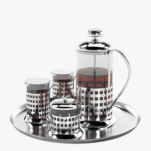 3d model of french press tea set
