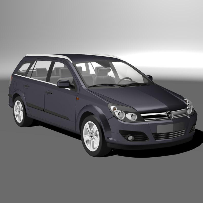 opel astra caravan 2005 3d model