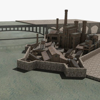 old brick factory buildings 3d model