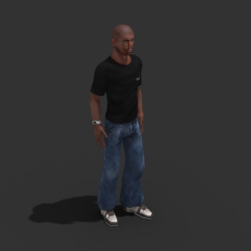 3d model male civilian rigged
