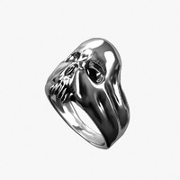 3d model silver skull ring