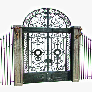 3d old ornamental gate metal fence
