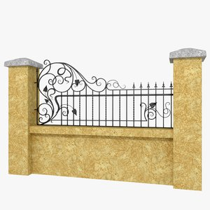 3d model wrought iron fence metal