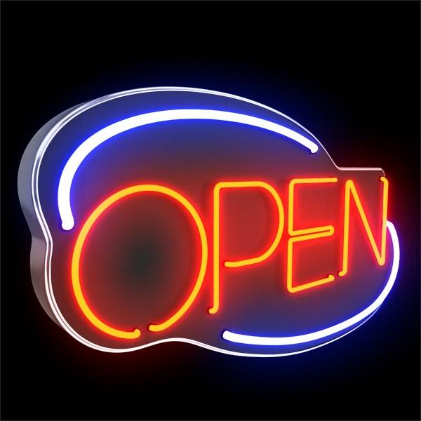 3d neon open sign
