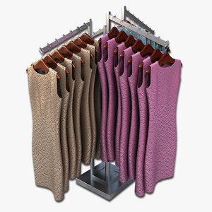 3d model women dresses rack clothing