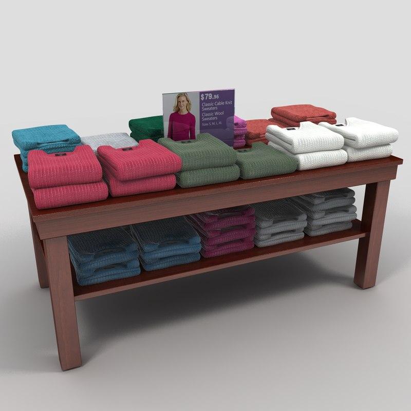 3d model women sweater table