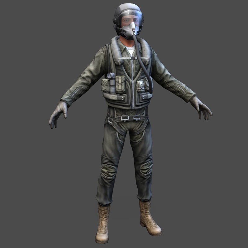 army pilot real-time 3d model