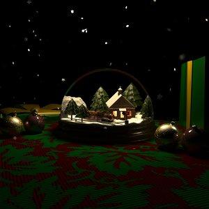 3d model of snowglobe christmas snow globe
