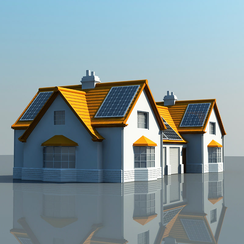 solar powered house 3d model