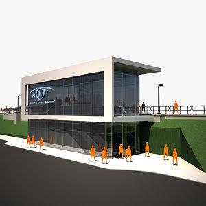 3d train station 01 model