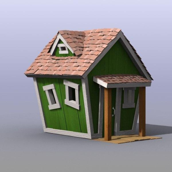 3d wooden house kid model