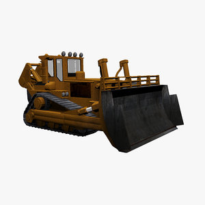3d bulldozer industrial model