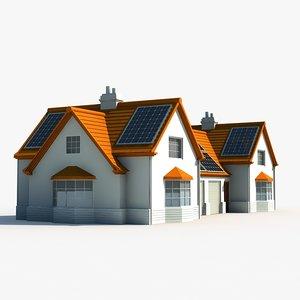 solar powered house 3d model