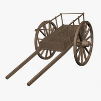 red river cart 3d model