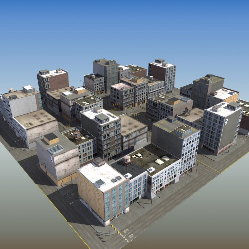 commercial city block 3d model