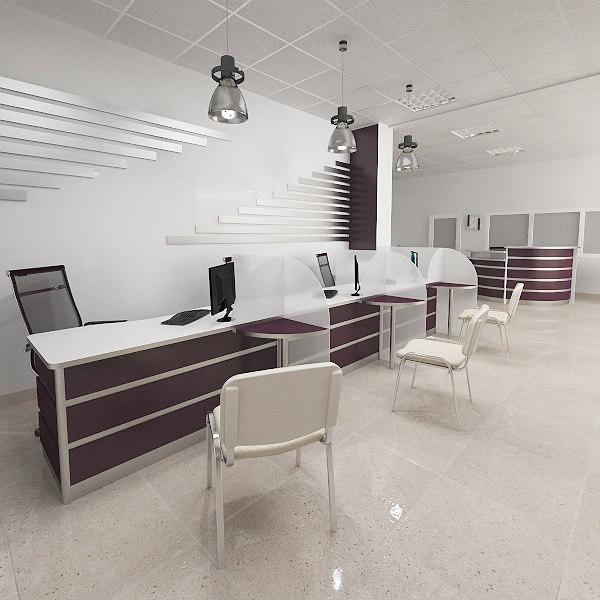 3d model bank interior furniture
