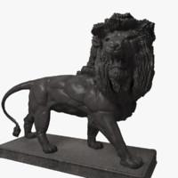 3d metal lion statue