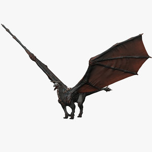 3d realistic volcano dragon pose model