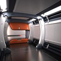 Sci Fi Futuristic Spaceship Corridor