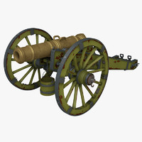 3d model cannon licorne howitzers