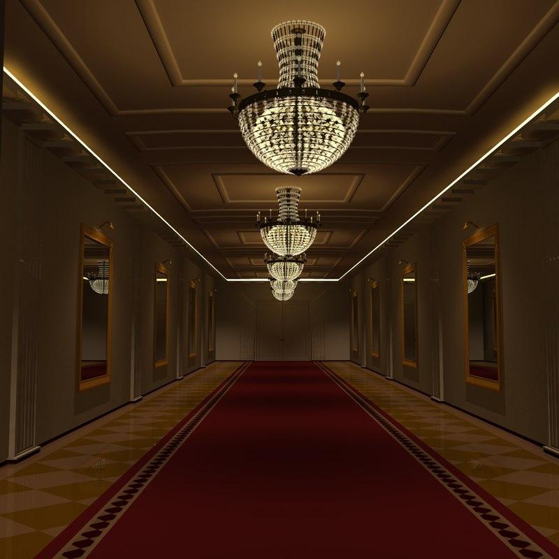 mirrored hallway 3d obj