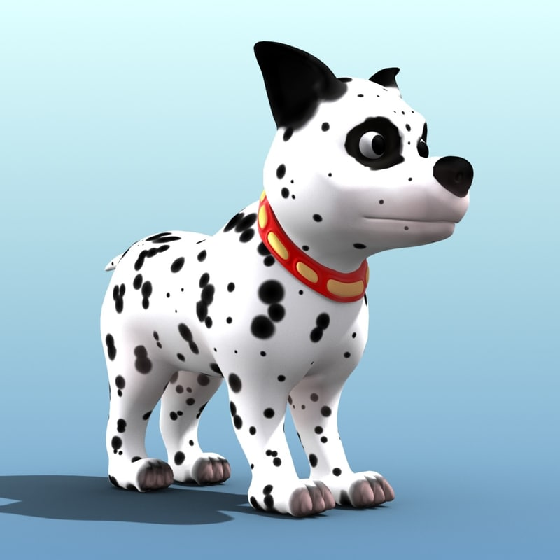 obj cartoon dalmatian dog