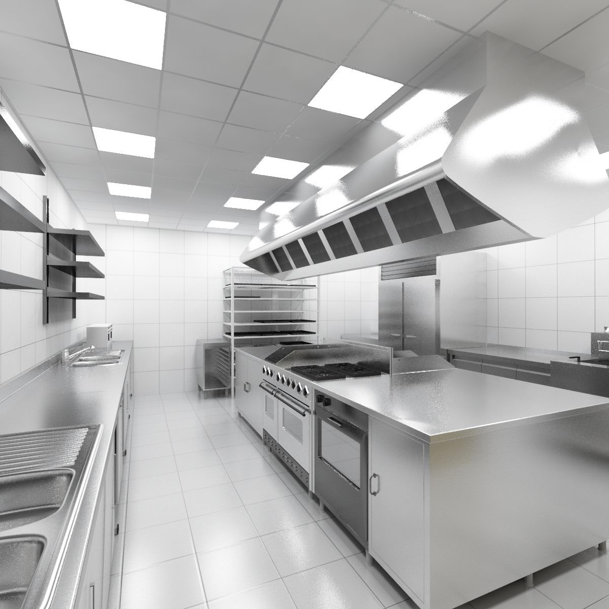 Traditional White Kitchen Design 3d Rendering: 3d Industrial Kitchen Model