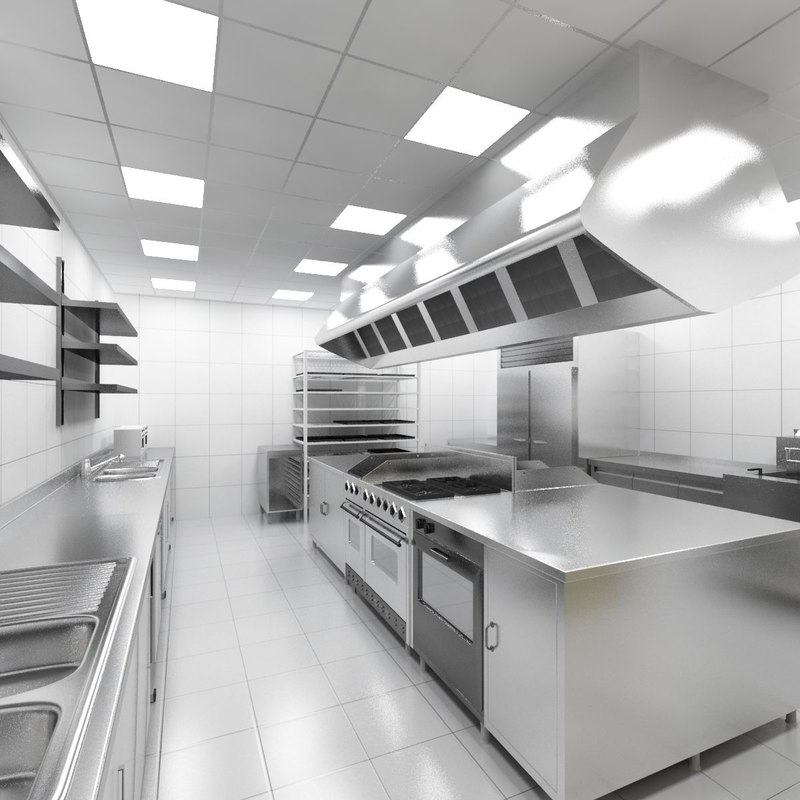 Modern Kitchen 3d Model industrial kitchen model