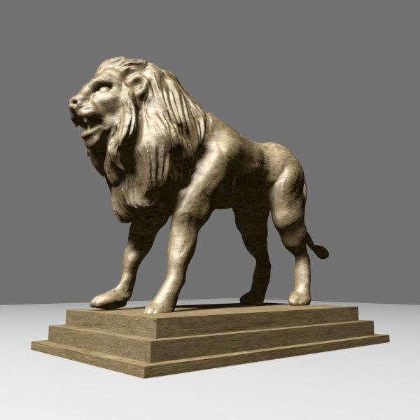 obj lion sculpture