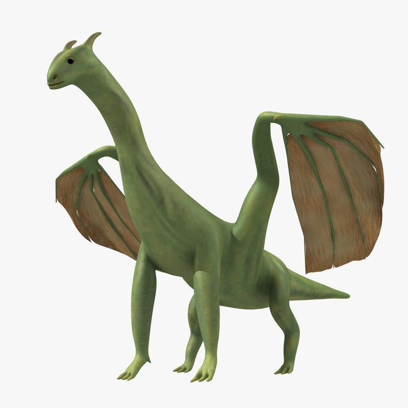 3d model friendly dragon creature
