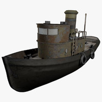old tug vessel 3d model