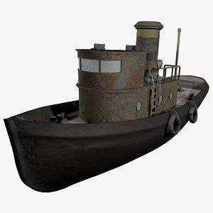 old tug vessel 3d model