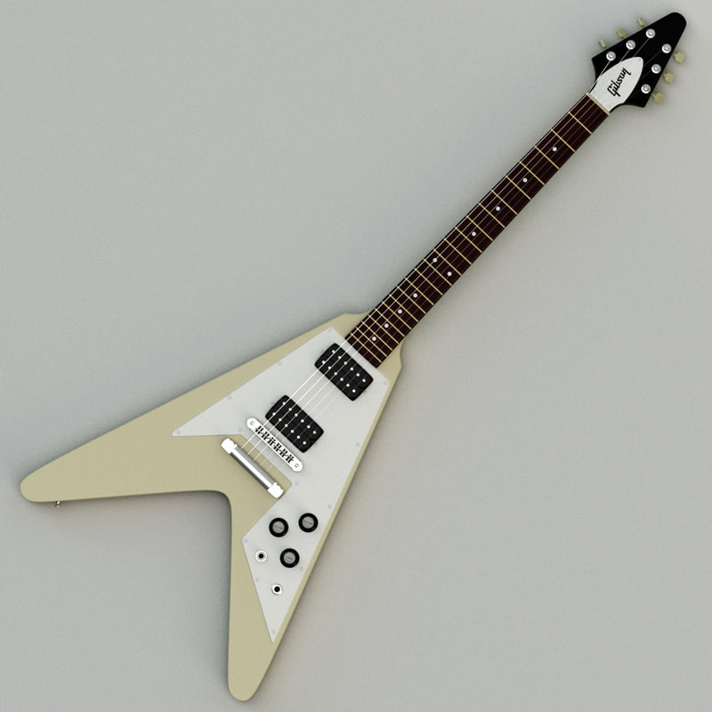 3d model gibson flying v electric guitar