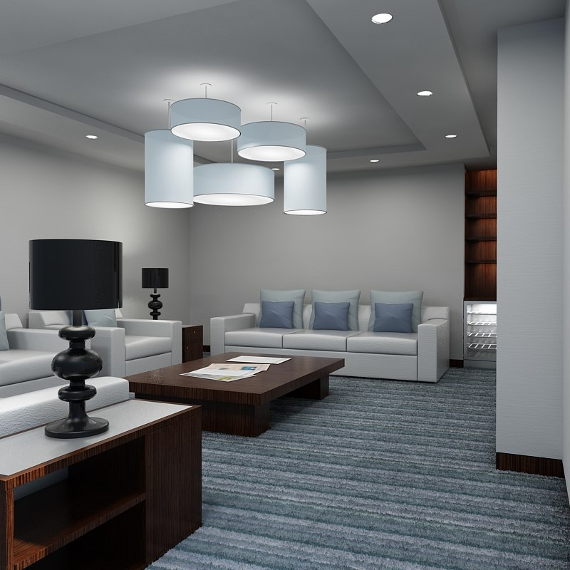 Office lounge interior 3d max for 3d max interior design
