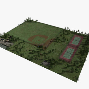 3d model park baseball field tennis