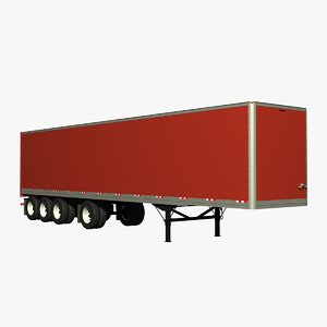 3d van trailer 4 axle model