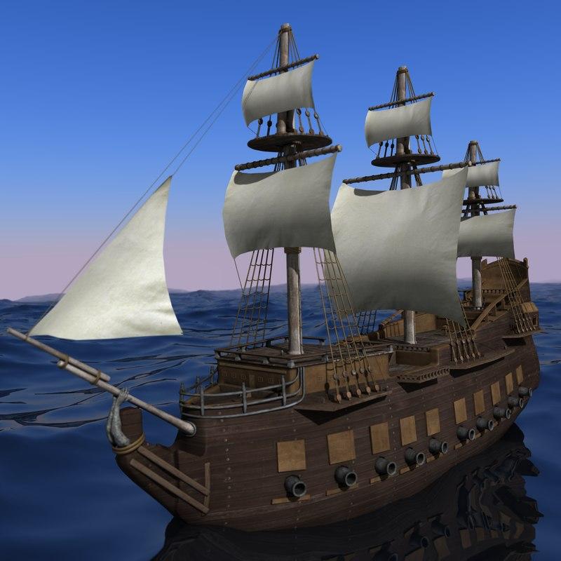 3d model of old medieval ship